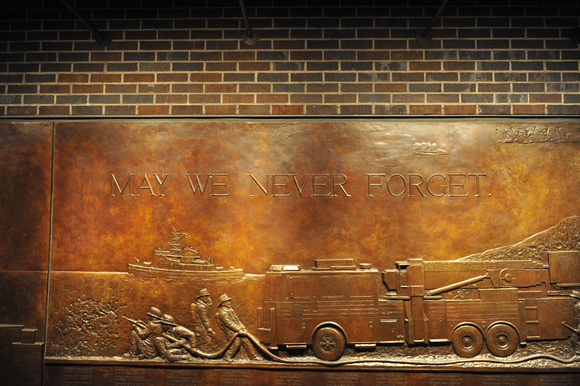 Close-up of the FDNY 9/11 Memorial