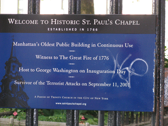 Sign Outside St. Paul's Chapel